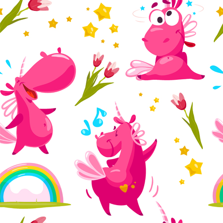Vector flat seamless pattern with funny unicorn characters, stars, rainbow and spring tulip flower.