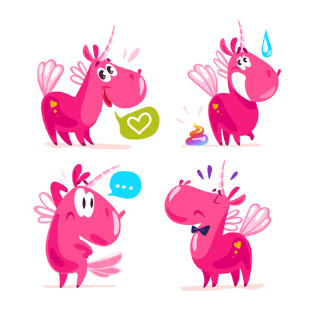 Vector collection of flat funny unicorns isolated on white background. Cartoon style.