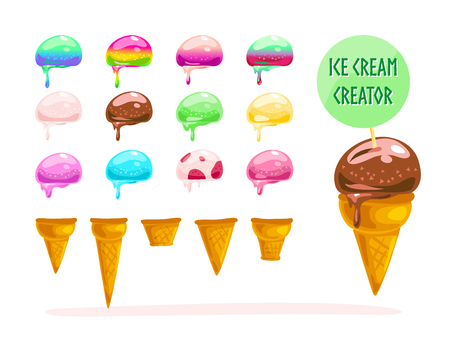 creator: Vector flat collection of tasty sweet colorful ice cream cones elements isolated on white background.