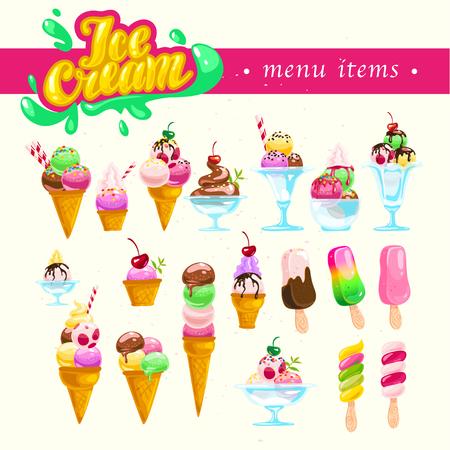 벡터 플랫 아이스크림 콘과 유리 요소에 격리 된 흰색 배경을 설정합니다. 아이스크림 가게, 상점, 트럭 로고, 브랜드 마크. 만화 스타일입니다. 달콤한