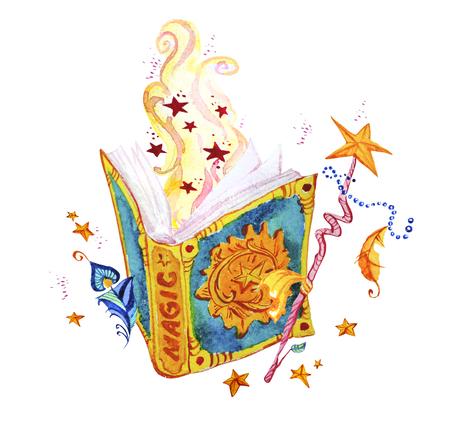 예술적 수채화 손으로 그려진 된 마법의 그림 별, 마법사 마법의 책, 깃털, 마술 지팡이 및 요정 연기 흰색 배경에 고립. 동화 마술사. 어린이 그림.