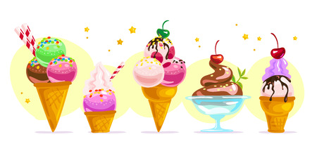 Vector platte ijs kegels en glazen element ingesteld op een witte achtergrond. Cartoon stijl. Zoete dessertillustratie. Goed voor pakketontwerp, deksjabloon voor menu's.