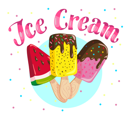 Vector flat ice cream truck, shop, store logo with hand written font, confetti and three eskimo isolated on white background. Cartoon style. Dessert illustration. Package design, menu cover template.