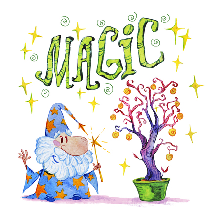 Artistic watercolor hand drawn magic illustration with stars, wizard and magic tree isolated on white background. Hand written font, lettering. Fairy tale magician. Children illustration. Stock Photo