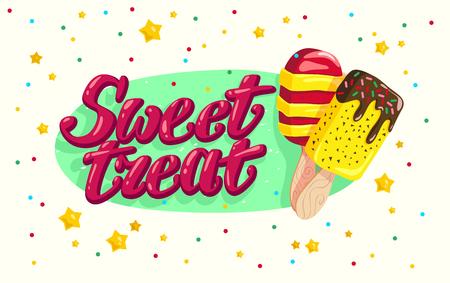 벡터 플랫 아이스크림 트럭,가 게, 손으로 작성 글꼴 및 흰색 배경에 고립 된 색종이 두 eskimo 저장소. 만화 스타일입니다. 디저트 그림입니다. 패키지  스톡 콘텐츠