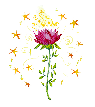 Watercolor artistic illustration with hand drawn magic flower and splattered stars isolated on white background. Children fairy tale illustration.