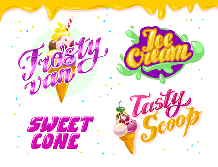 Vector flat collection of ice cream truck, store, shop and van logo design with lettering, hand written font and ice cream cone icon isolated on white background. Tasty  dessert brand mark. Stock Photo