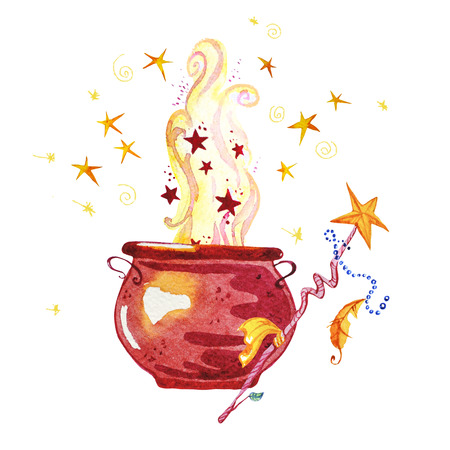 Artistic watercolor hand drawn magic pot illustration with stars, smoke, fire and wand isolated on white background. Fairy tale magician. Children illustration. Stock Photo