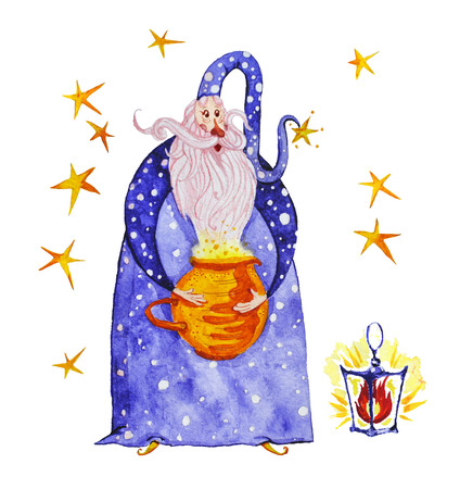 Watercolor artistic collection of magic hand drawn elements design isolated on white background. Wizard, splattered stars, magic pot and and lightening fire set. Fairy tale children illustration. Stock Photo