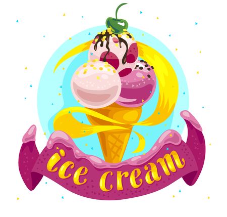 Vector flat ice cream truck, shop, store logo with hand written font, confetti, ribbon and ice cream cone isolated on white background. Cartoon style. Dessert illustration. Package design, menu cover. Stock Photo