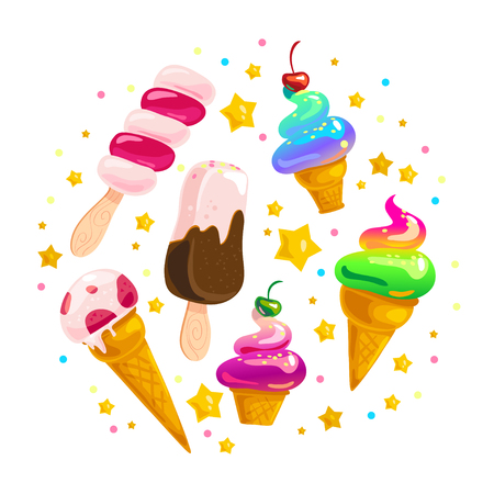 Vector flat ice cream cones and eskimo element set isolated on white background. Cartoon style. Sweet dessert frame made with splattered candy and stars. Good for package design, menu cover template.