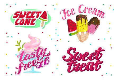 Collection vectorielle de crème glacée, magasin, magasin et conception de logo de van avec lettrage, police manuscrite et cône de glace et icône esquimaude isolé sur fond blanc. Marque de dessert savoureuse. Banque d'images - 79407757