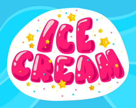 Vector flat ice cream shop, store logo isolated on yellow background. Cartoon style. Ice cream store, truck emblem with confetti, stars. Badge, sticker, packaging design element.