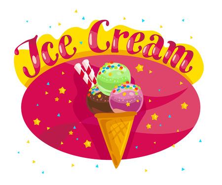 Vector plat camion de crème glacée, boutique, magasin avec polices manuscrites, cornet de crème glacée, confettis, étoiles isolées sur fond rose. Illustration de dessin animé dessert Conception de paquet, modèle de couverture de menu Banque d'images - 79440892