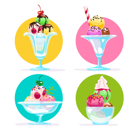 Vector flat ice cream cones and glasses element set isolated on white background. Cartoon style. Sweet dessert illustration. Good for package design, menu cover template. Stock Photo