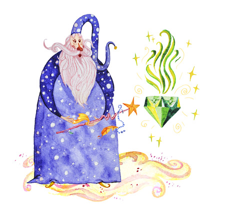 Artistic watercolor hand drawn magic illustration with stars, wizard with magic wand conjuring magic diamond isolated on white background. Fairy tale magician. Children illustration.