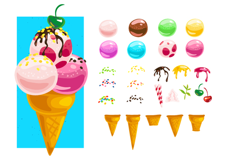 Vector flat collection of tasty sweet colorful ice cream cones elements isolated on white background. Food illustration generator creator for menu, packaging design. Cold delicious summer dessert set. Banco de Imagens