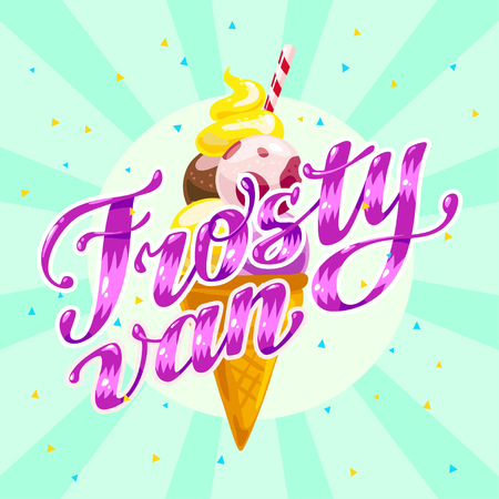 Vector flat ice cream truck, shop, store logo with hand written font and ice cream cone, confetti isolated on white background. Cartoon style. Dessert illustration. Package design, menu cover template