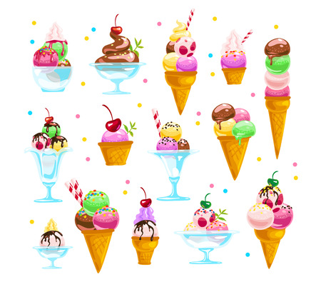 Vector flat ice cream cones and glasses element set isolated on white background. Cartoon style. Sweet dessert illustration. Good for package design, menu cover template. Stock fotó