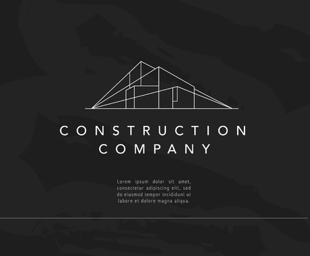 Vector construction company brand design template. Building company and architect bureau insignia, logo illustration isolated on black background. White stroke, linear art. Vettoriali