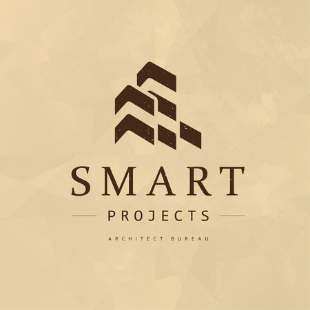 Modello di progettazione emblema piatto urbano architetto società vettoriale. Insegne di progetti di costruzione e dell'ufficio della costruzione, illustrazione di logo isolata su fondo di carta.