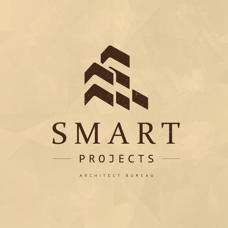 Plantilla plana del diseño del emblema de la compañía del arquitecto del plano del vector. Proyectos de construcción y insignia de la oficina de construcción, ilustración de la insignia aislada en el fondo de papel.