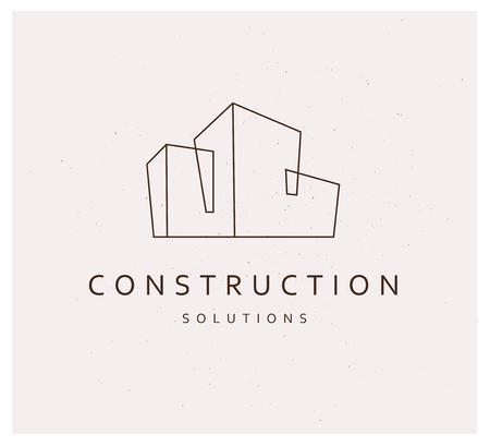 Szablon projektu marki płaskie wektor firmy. Budynku firmy i architekta biura insygnia, logo ilustracja odizolowywająca na białym tle. Grafika liniowa.