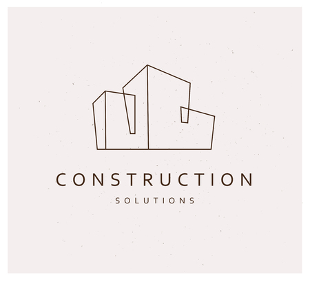 Vector platte bouw bedrijf merk ontwerpsjabloon. Bouwbedrijf en architectenbureauinsignes, embleemillustratie op witte achtergrond wordt geïsoleerd die. Lijn kunst.