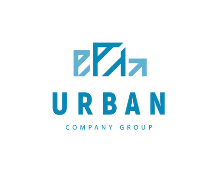Vector flat abstract construction company brand design template. Building urban company and architect bureau insignia, logo illustration isolated on white background.