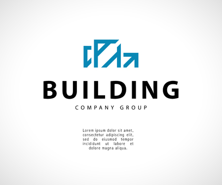 Vector flat abstract geometric building company emblem. Urban projects company and design bureau insignia. Construction logo illustration isolated on white background. Line art.