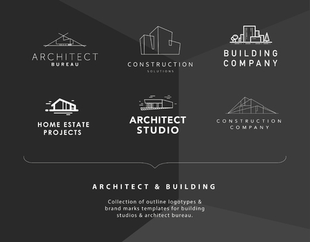 Vector collection of simple stylish outline construction company and architect agency logo designs isolated on black background. Building company insignia set. Urban modern line art illustration.
