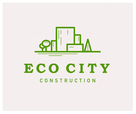 Vector flat eco building construction company insignia design. Eco friendly construction company group logo. Green city illustration with buildings and trees isolated on white background. Line art.