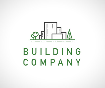 Vector flat construction company brand design template. Building eco company and architect bureau insignia, logo illustration with city buildings and trees isolated on white background. Line art. Illustration