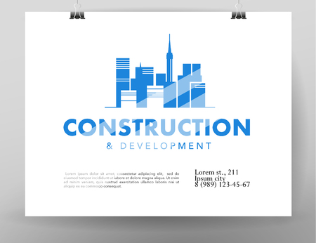 Vector flat construction company emblem isolated on hanging white poster. Business company brand mark and design bureau insignia, logo illustration isolated on white background. City silhouette. Illustration