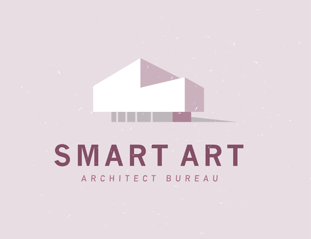 Vector flat architect bureau logo design isolated on light background. Modern house simple icon illustration. Smart home design, real estate projects. Construction company brand mark. Stock Photo