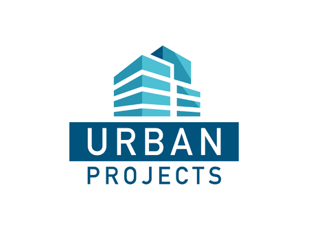 Bau-Firmenzeichen-Designschablone des Vektors flache städtische. Bauunternehmen- und Architektenstudioinsignien, Markenzeichenillustration lokalisiert auf weißem Hintergrund.