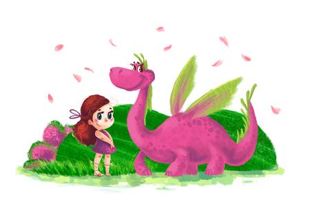 Hand getrokken artistieke illustratie van schattig klein meisje en vriendelijke dinosaurus met natuurelementen geïsoleerd op een witte achtergrond. Cartoon stijl. Kinderen illustratie.
