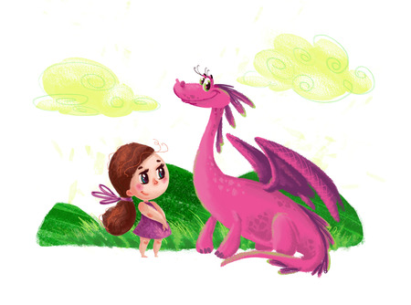 Hand drawn artistic illustration of cute little girl and friendly dinosaur with nature elements isolated on white background. Cartoon style. Children illustration.