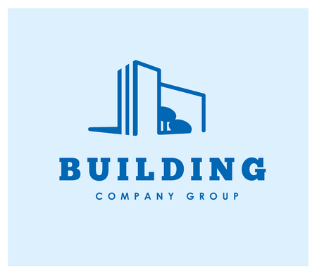tree logo: Vector flat building company group emblem design template. Construction company and architect bureau insignia, logo illustration isolated on white background. Line art.