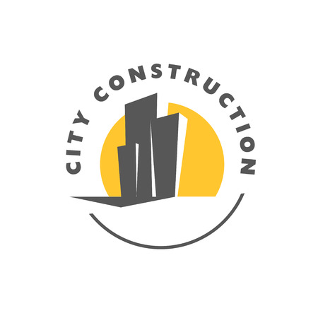 Vector flat construction company insignia with three skyscrapers isolated on white background. Building company and architect bureau brand mark, logo illustration.
