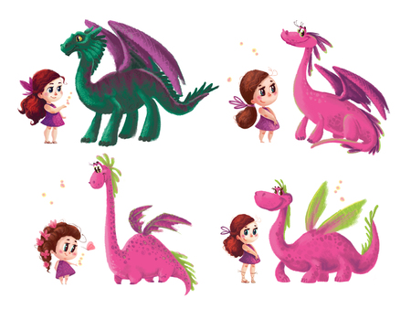 Hand drawn artistic collection of cute little girl and friendly dinosaur with nature elements isolated on white background. Cartoon style. Children illustration.