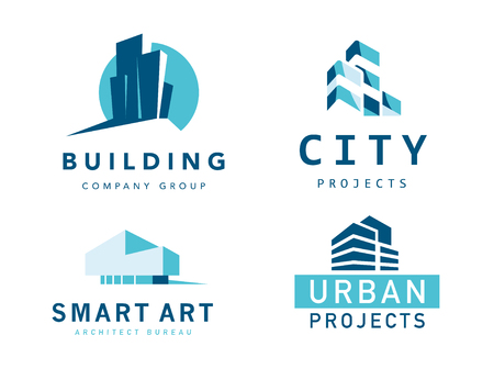 Vector collection of simple stylish flat construction company and architect agency logo designs isolated on white background. Building company insignia set. Urban modern style. Reklamní fotografie