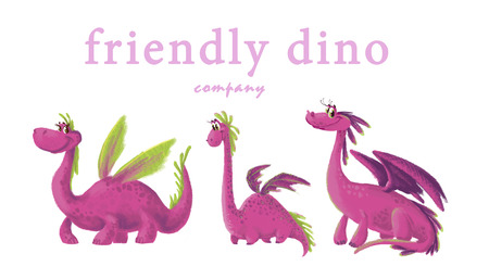 Hand drawn artistic funny dinosaur portrait collection isolated on white background. Friendly animal character design set. Children book illustration.