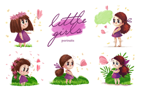 Collection of hand drawn portrait of cute little girl with long hair standing on the green grass next to flying butterfly isolated on white background. Summer child illustration with nature elements.