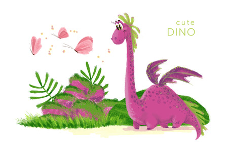 Hand drawn artistic funny dinosaur portrait with nature elements isolated on white background. Friendly animal character design. Children book illustration.