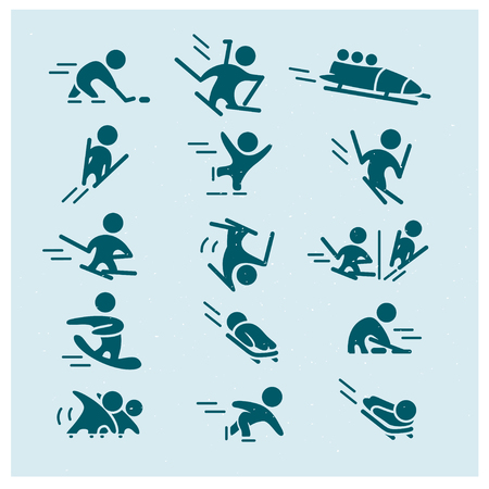 Vector collection of flat simple athlete silhouettes isolated on white background. Winter sport icons. Competition symbols. Good for advertising and poster design.  イラスト・ベクター素材