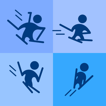Vector collection of flat simple athlete silhouettes isolated on blue background. Winter sport icons. Competition symbols. Good for advertising and poster design.