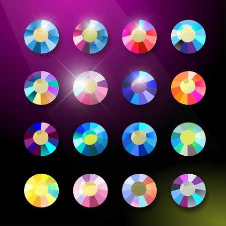 Vector collection of shine colorful gemstones isolated on black background. Glass crystal set. Good for game design, abstract rhinestone patterns, wallpapers. Çizim