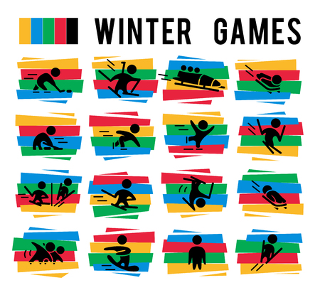 Vector collection of flat sport icons isolated on colorful backgrounds. Winter sports illustration. Human figures. Active lifestyle, season activities. Competition sign and symbol. Stock Vector - 83239203