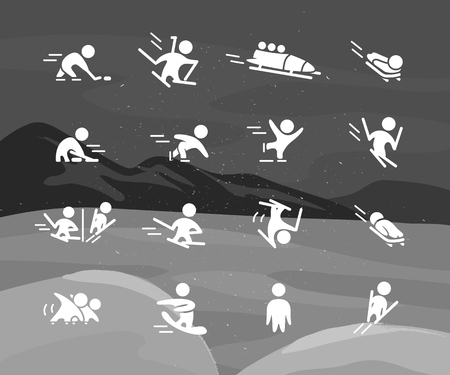 Collection of winter sport flat icons isolated on black and white colored snowy mountain landscape. Winter athletes silhouettes set. White color.